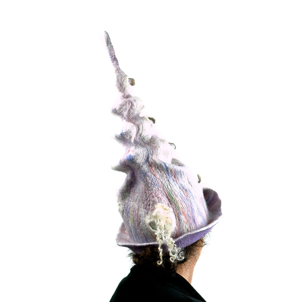 Pale Purple, Pastel Colored, Felted Unicorn Hat - back view