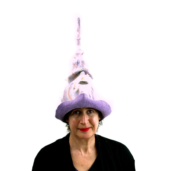 Pale Purple, Pastel Colored, Felted Unicorn Hat -front view