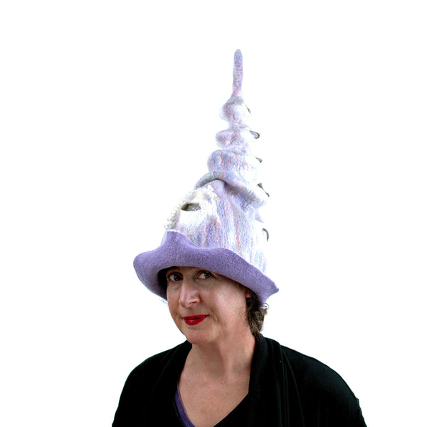 Pale Purple, Pastel Colored, Felted Unicorn Hat - three-quarters side view