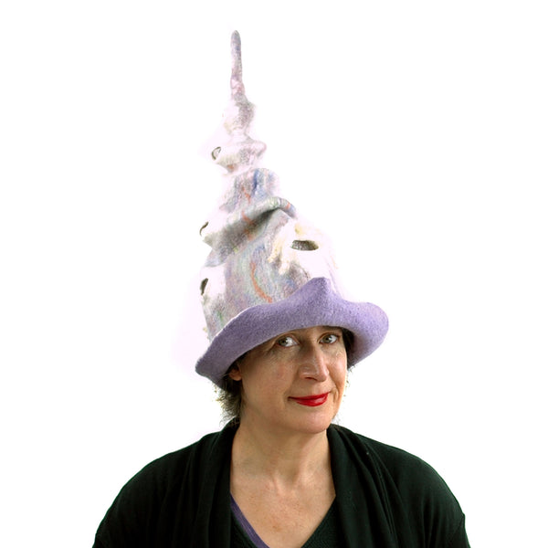 Pale Purple, Pastel Colored, Felted Unicorn Hat - another front view