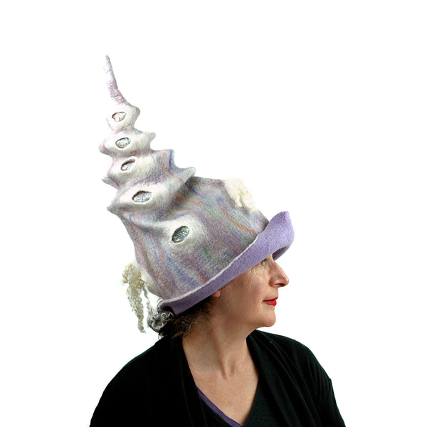 Pale Purple, Pastel Colored, Felted Unicorn Hat - side view