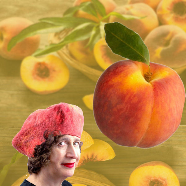 Peach Hat in digital collage with a bowl of fuzzy peaches.