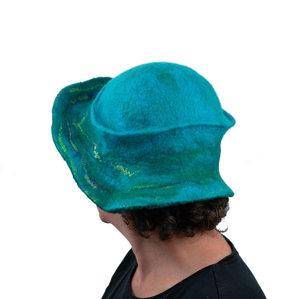 Peacock Inspired Fedora in Turquoise Blue - back view