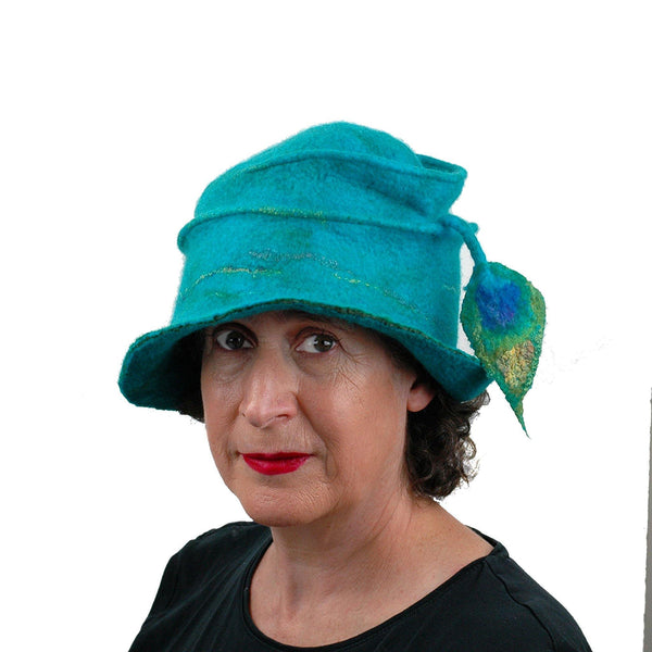 Peacock Inspired Fedora in Turquoise Blue - three quarters view