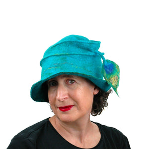 Peacock Inspired Fedora in Turquoise Blue - front view