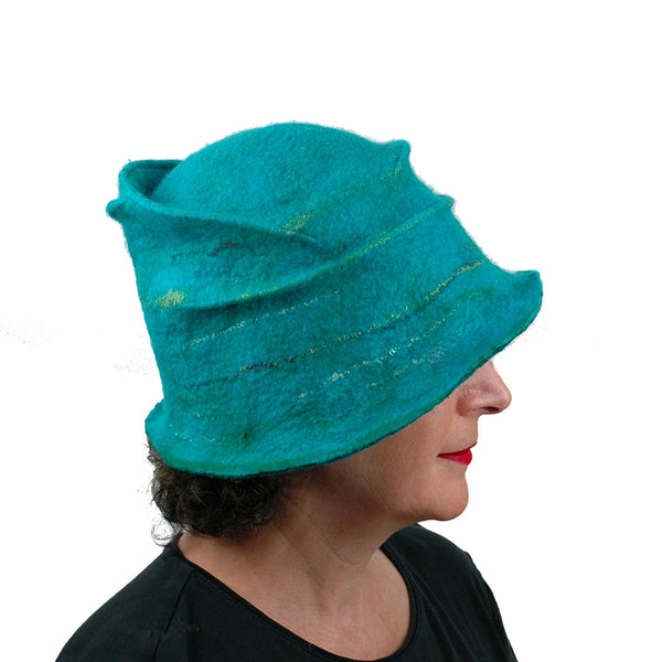 Peacock Inspired Fedora in Turquoise Blue - side view