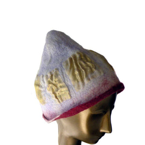 Pink and Gold felted Beanie