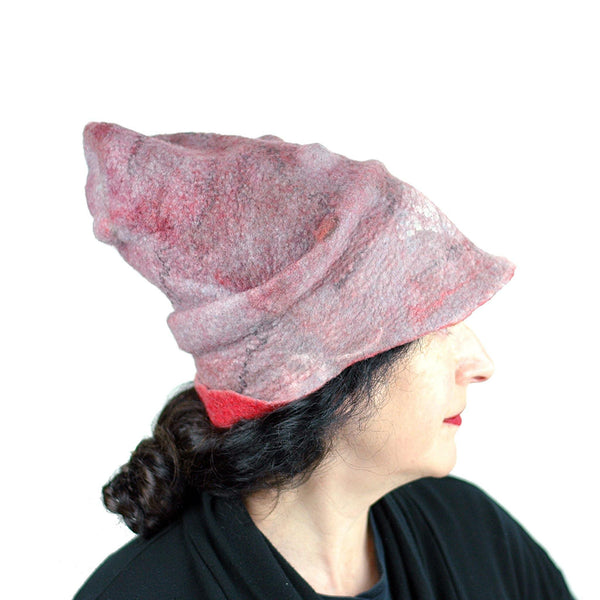 Pink Pastel Colored Newsboy Hat - side view