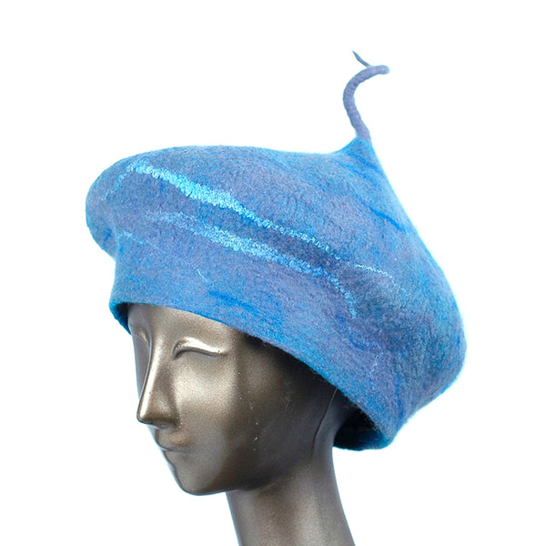 Playful Blue Gray Beret with Curlicue Stem - three quarters view