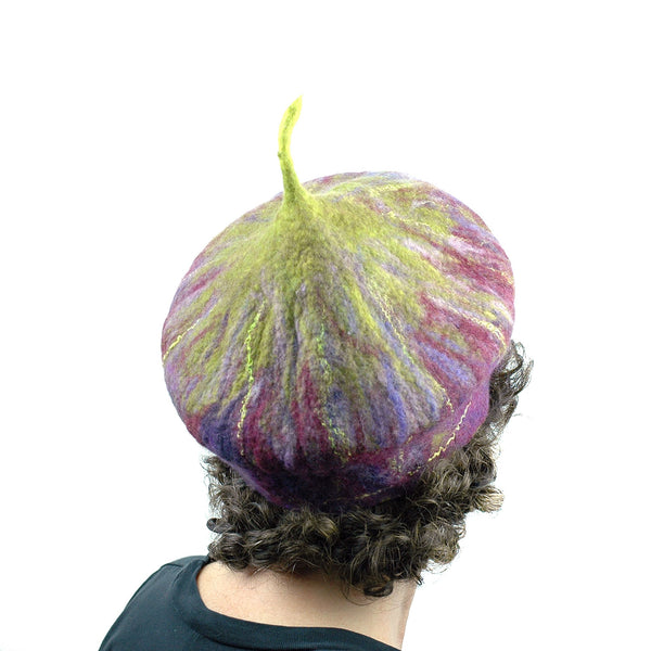 Purple and Green Felted Fig Hat - back view