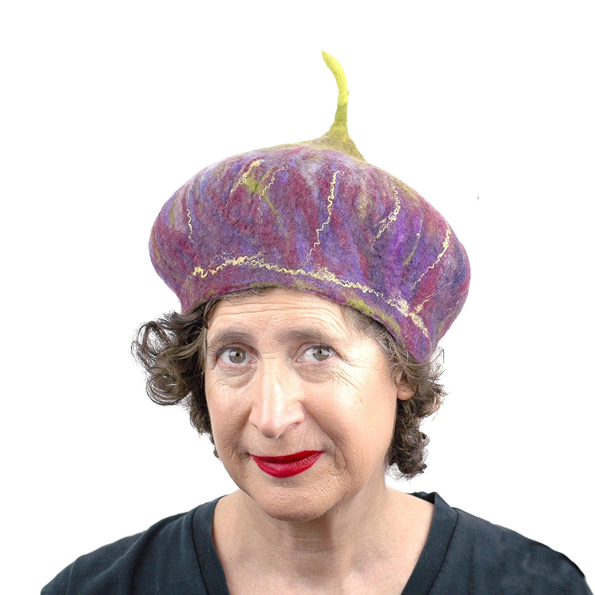 Purple and Green Felted Fig Hat - front view