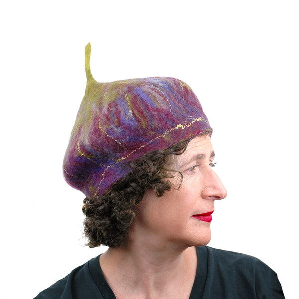Purple and Green Felted Fig Hat - side view
