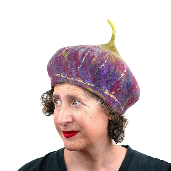 Purple and Green Felted Fig Hat - three quarters view
