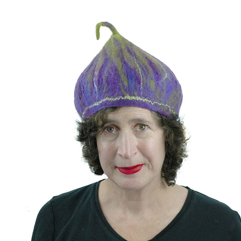 Purple and Green Fig Hat with Kewpie Stem - front view