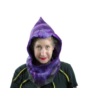 Purple Felted Fig Cowl with Peaked Hood - front view