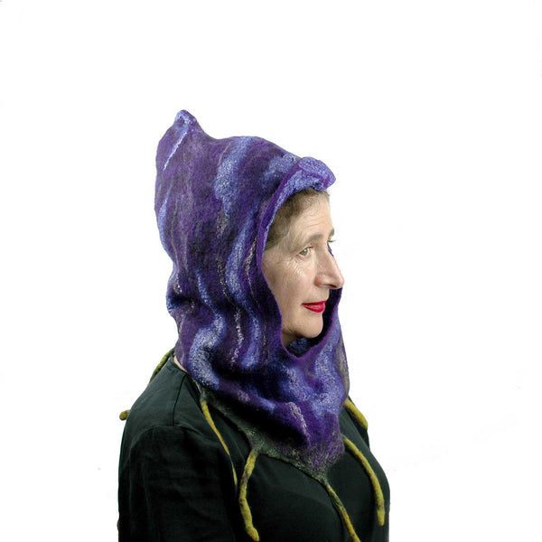 Purple Felted Fig Cowl with Peaked Hood  - side view