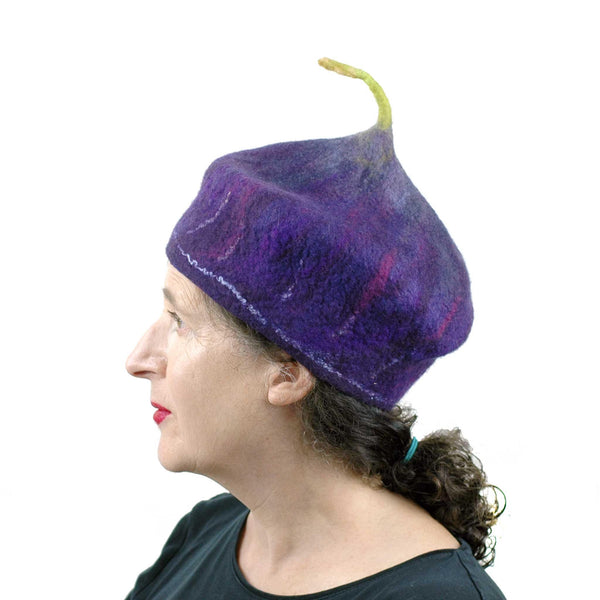 Purple Fig Felted Cap Small Size - side view