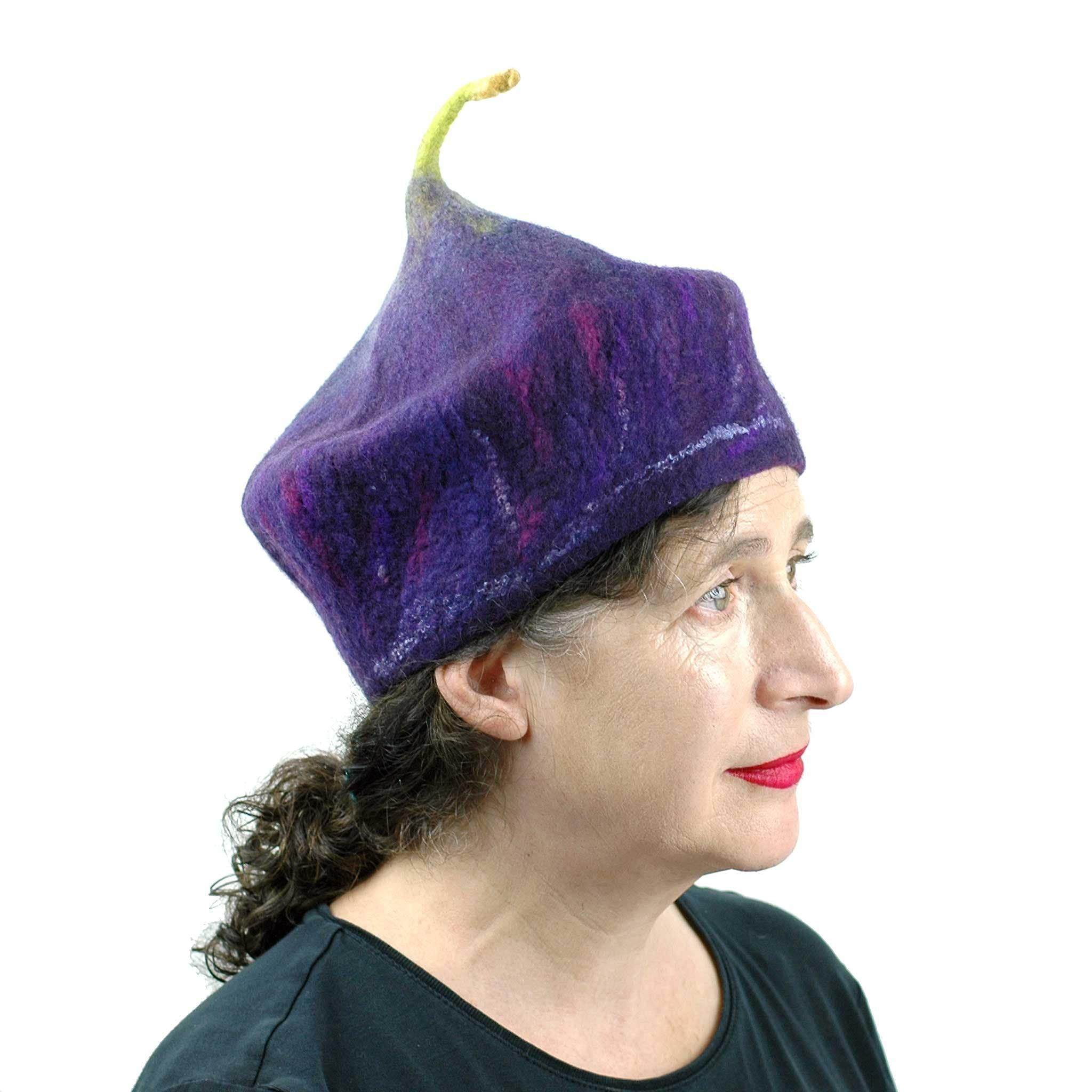 Purple Fig Felted Cap Small Size - three quarters view