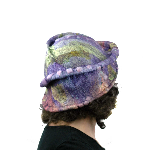 Purple Jewel Toned Brim Hat - back view