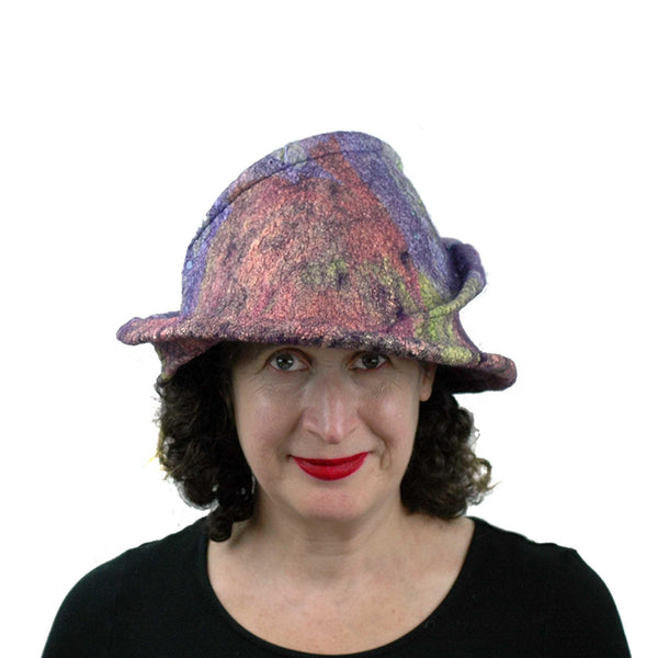 Purple Jewel Toned Brim Hat - flexible front