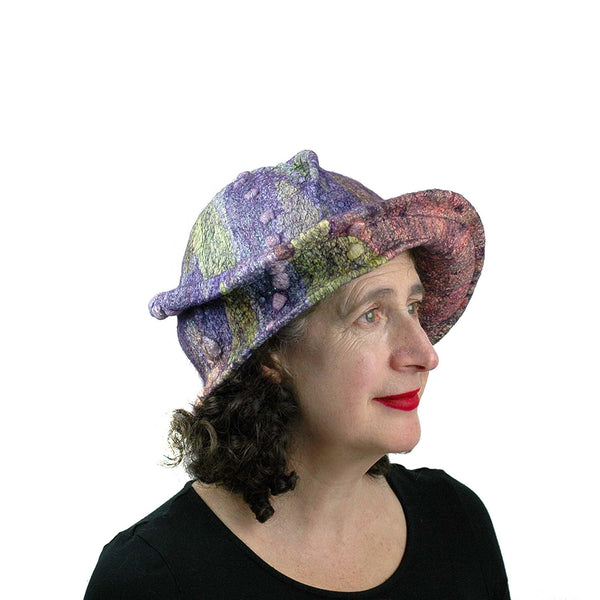 Purple Jewel Toned Brim Hat - Side view