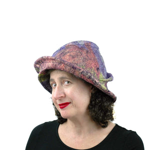 Purple Jewel Toned Brim Hat - three quarters view