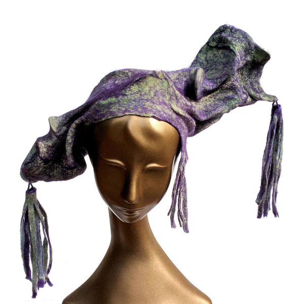 Purple Jester Fantasy Headdress with Tassels