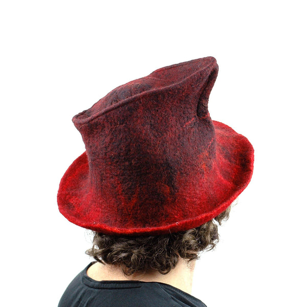 Quirky Red and Black Felted Fedora - back view