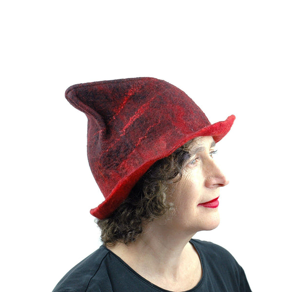 Quirky Red and Black Felted Fedora - side view