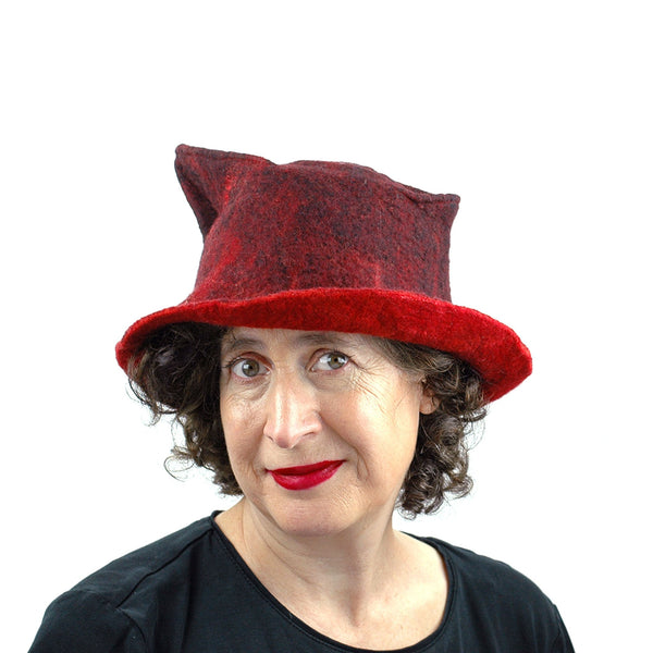 Quirky Red and Black Felted Fedora - front view