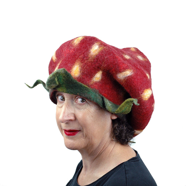 Rasta Style Felted Strawberry Hat - three quarters view