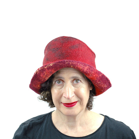 Red and Black Felted Hat - front view