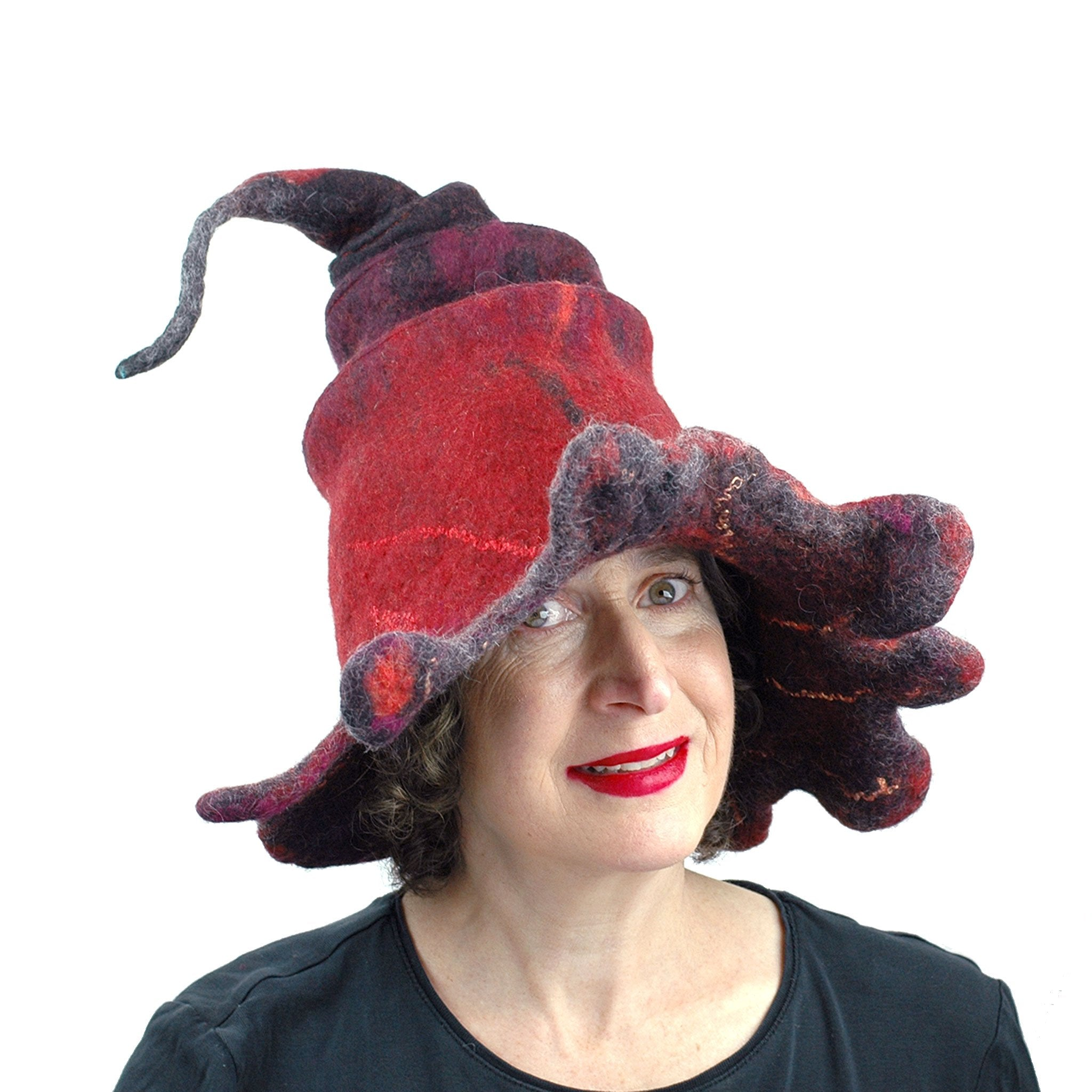 Red and Black Oak Leaf Felted Witch Hat - front view