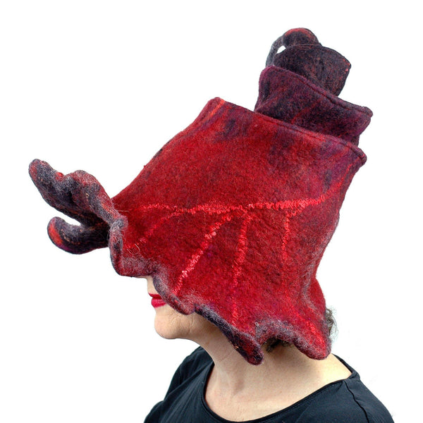 Red and Black Oak Leaf Felted Witch Hat - side view
