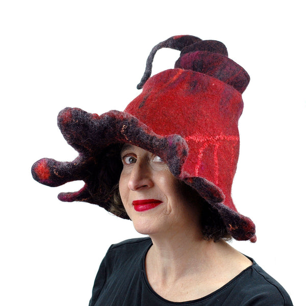Red and Black Oak Leaf Felted Witch Hat - three quarters view