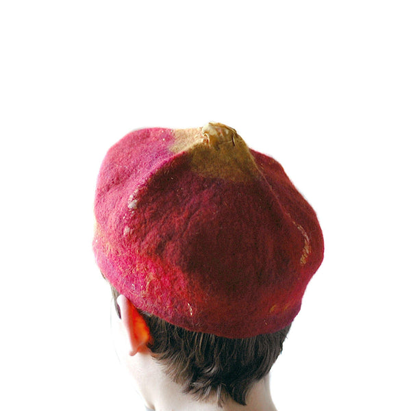 Red and Gold Biretta Hat -back view