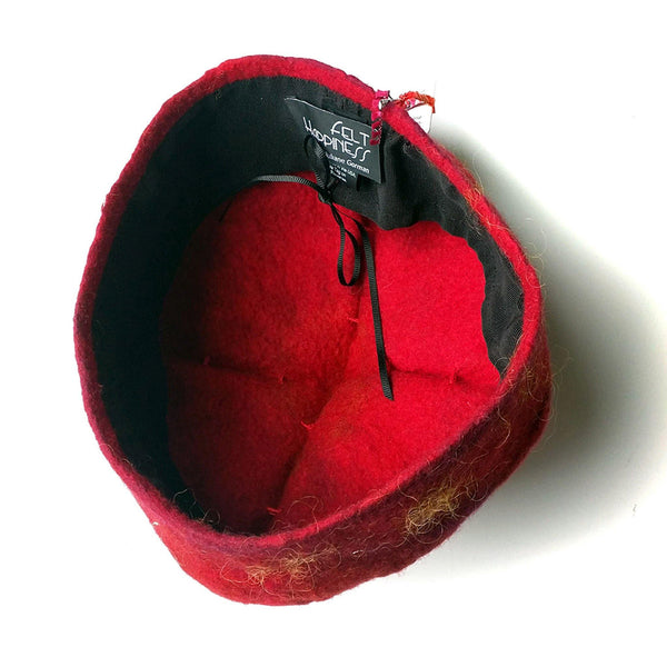 Red and Gold Biretta Hat - inside view