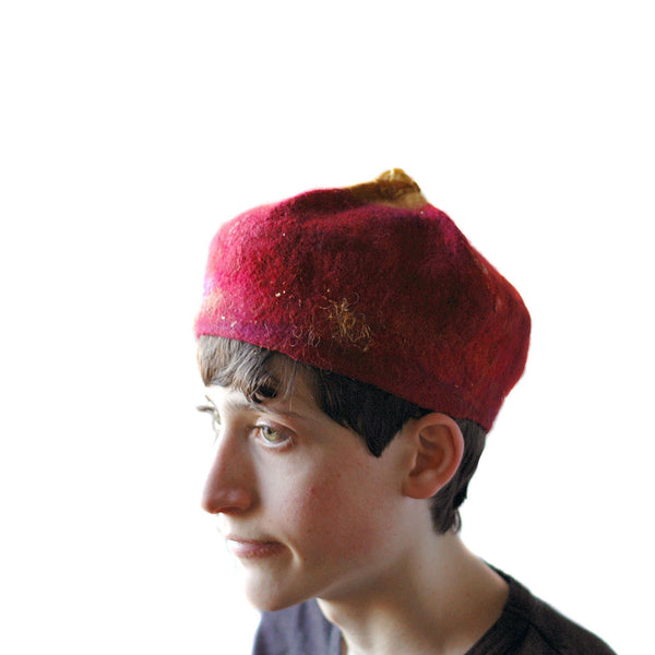 Red and Gold Biretta Hat - side view 2