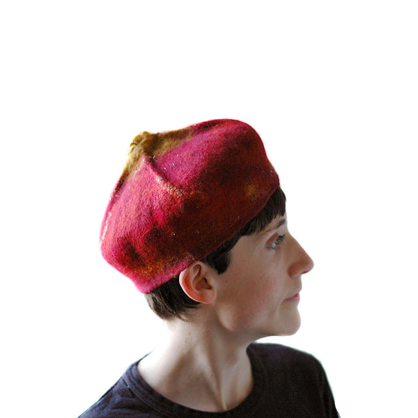 Red and Gold Biretta Hat - side view