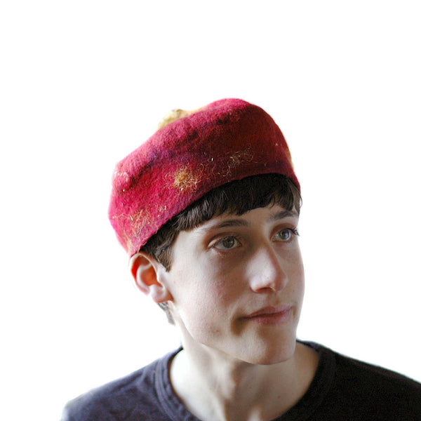 Red and Gold Biretta Hat - three quarters view