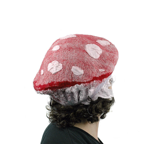 Red and White Mushroom Beret with Nunofelted Gills - back view