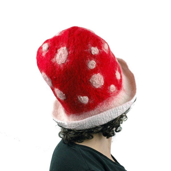 Red and White Mushroom Top Hat - back view