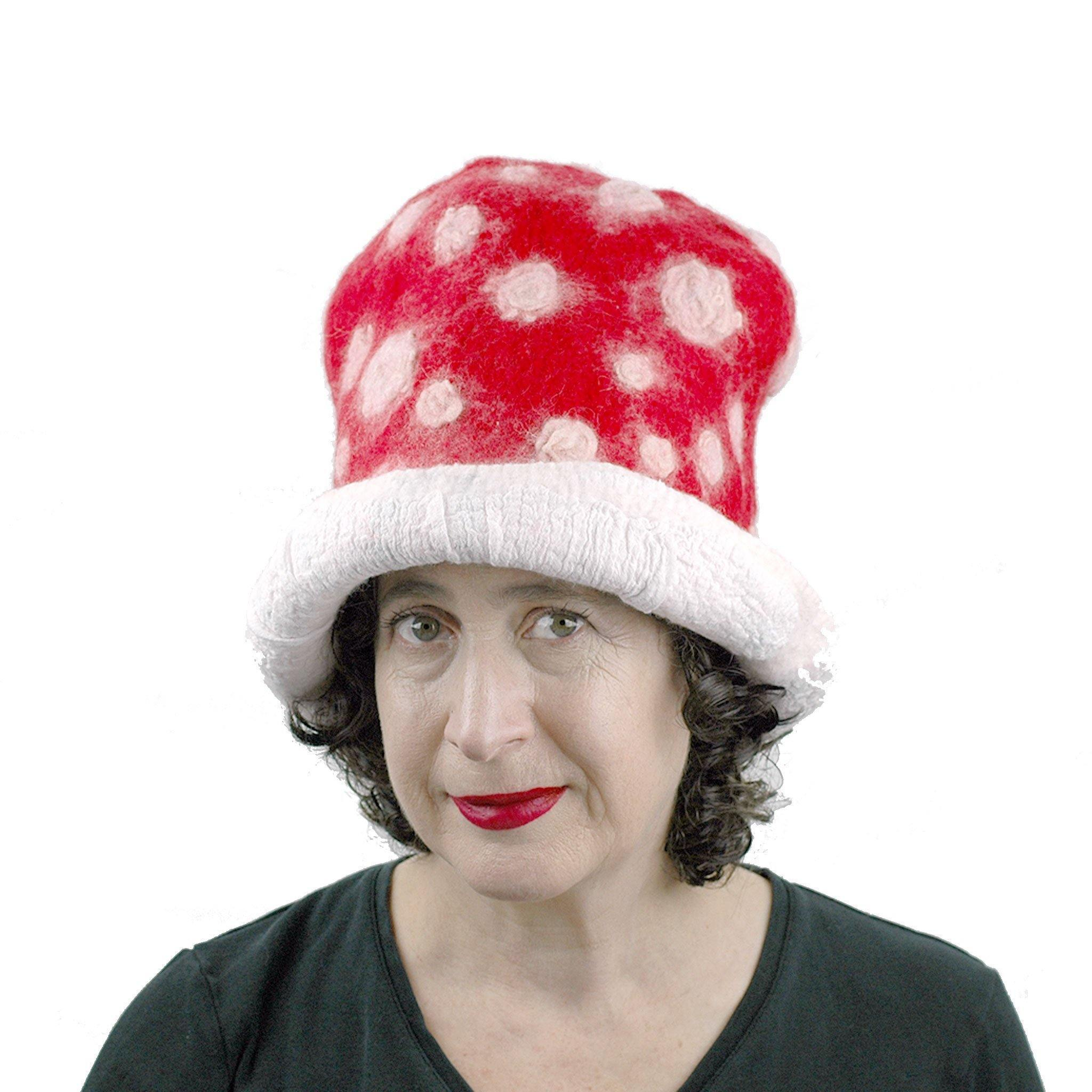 Red and White Mushroom Top Hat - front view