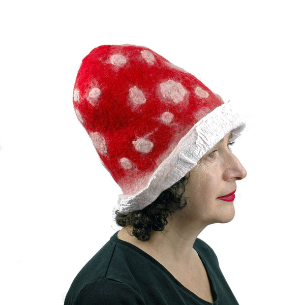 Red and White Mushroom Top Hat - side view