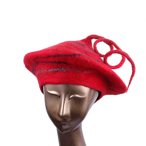 Red Beret with Black Swirl and Long Curlicue - front view