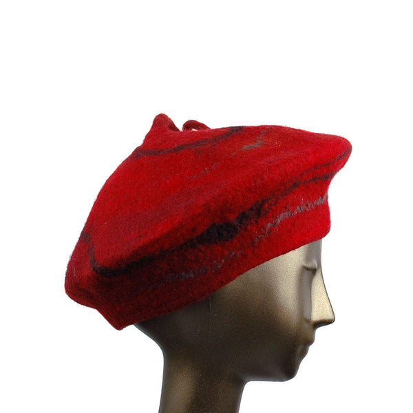 Red Beret with Black Swirl and Long Curlicue - side view