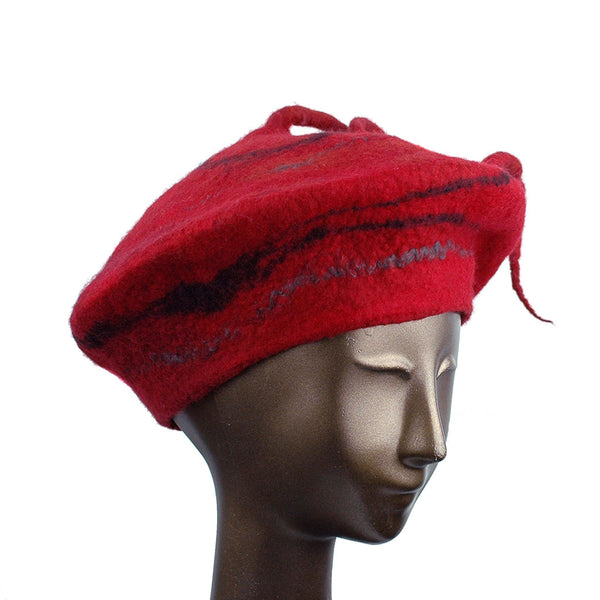 Red Beret with Black Swirl and Long Curlicue - three quarters view