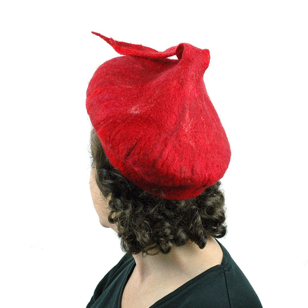 Red Felted Beret with Fishtail - back view