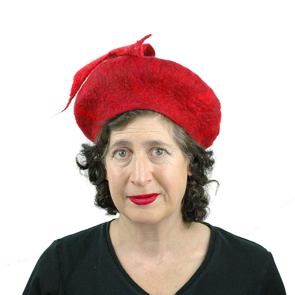 Red Felted Beret with Fishtail - front view