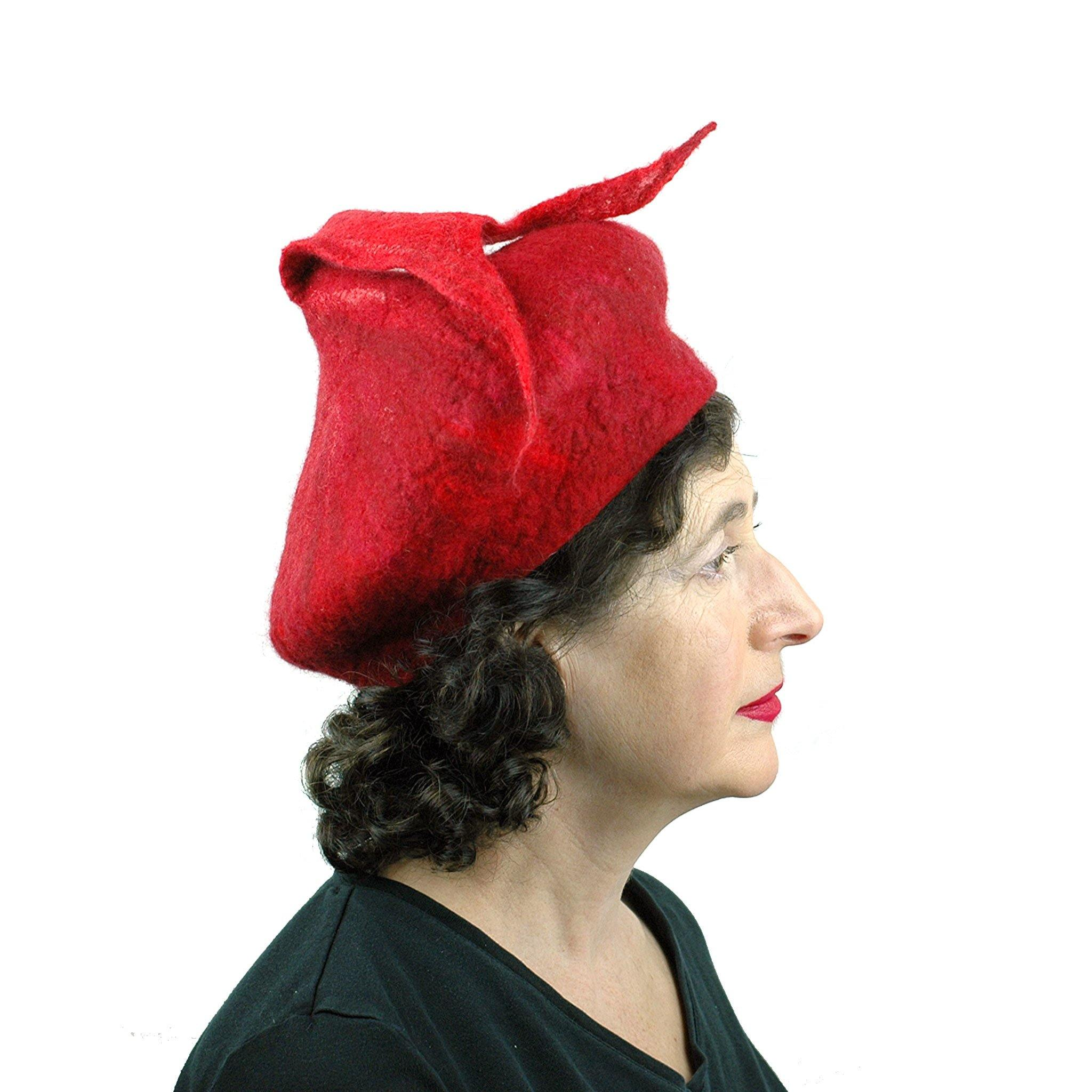 Red Felted Beret with Fishtail - side view
